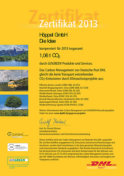 Gogreen Zertifikat der Firma Höppel Göppingen